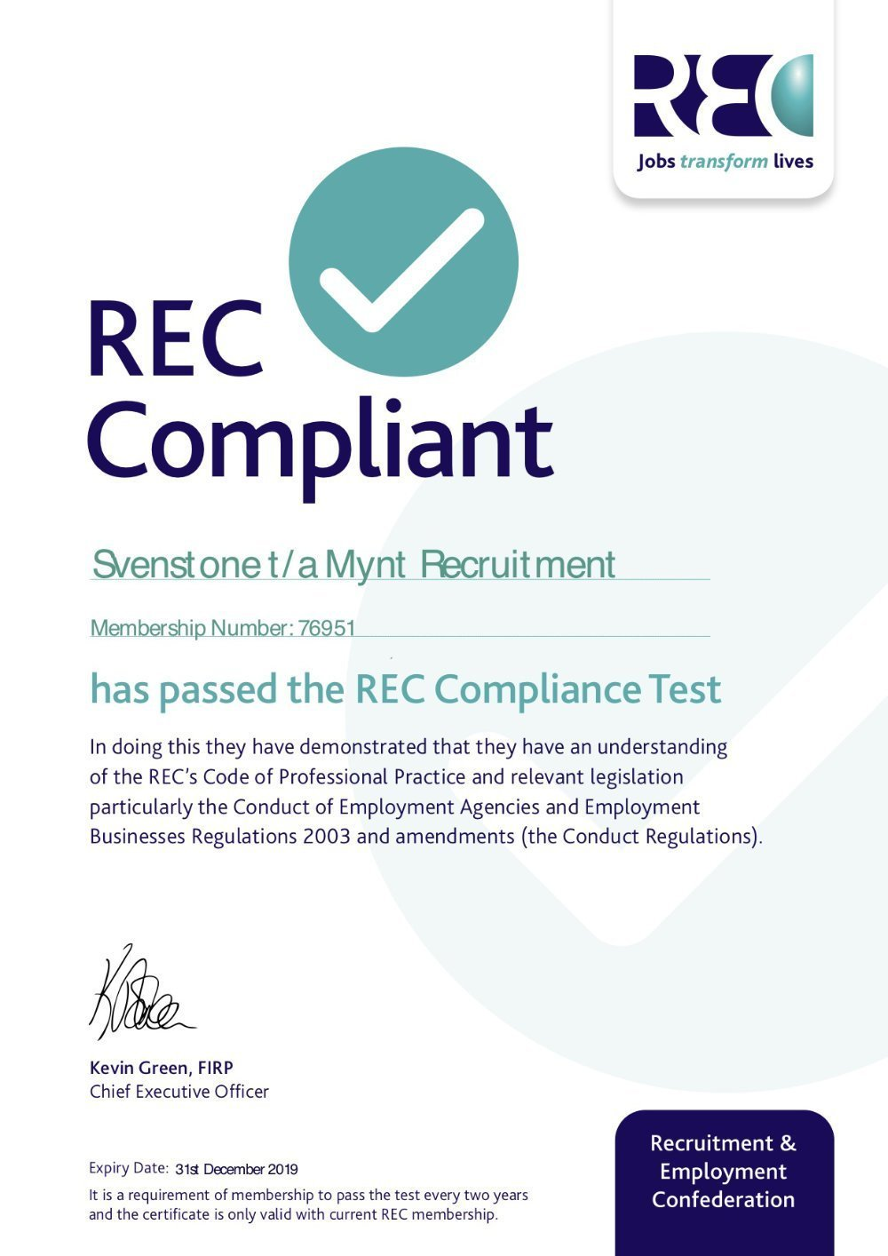 We are REC Compliant (again)